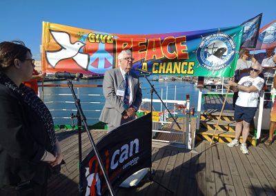 Joe Deakin, MUA, speaking aboard Peace Boat, Feb 2018